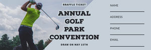 Blue Golf Convention Raffle Ticket with Golf Player Photo Boleto de sorteo