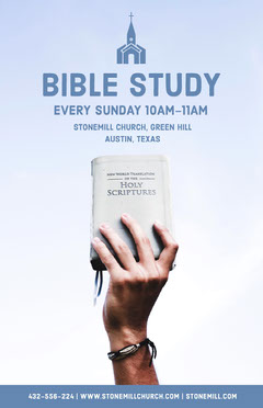 Blue Bible Study Church Flyer with Hand Holding Bible Sunday