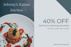 Gray Italian Restaurant Discount Coupon with Gourmet Pasta Meal Catering
