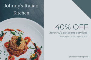Gray Italian Restaurant Discount Coupon with Gourmet Pasta Meal Coupon