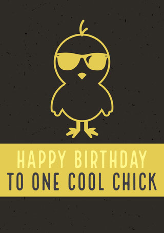 Yellow and Black Illustrated Happy Birthday Card with Chick in Sunglasses 電子賀卡