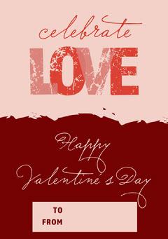 Pink and Claret Valentines Note Card Valentine's Day