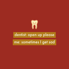 Red Dentist Instagram Square Meme with Tooth Dentist