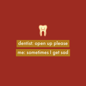 Red Dentist Instagram Square Meme with Tooth Modern Meme