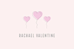 Gray and Pink Balloon Heart Valentine's Day Party Name Tag Balloon