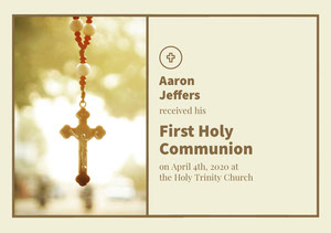 Light, Bright, Beige Toned First Holy Communion Announcement Card Communion Annoucements