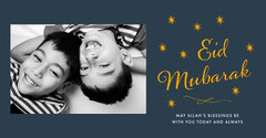 Navy and Yellow Eid Mubarak Celebration Photo Card Eid Mubarak