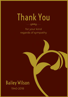 Brown and Gold Floral Thank You for Attending Funeral Card Funeral