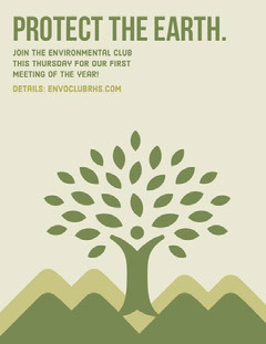 Green Environmental School Club Flyer with Tree Illustration Meeting Flyer
