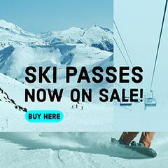 Blue and Black Ski Passes Collage Sale Instagram Post Ad Winter