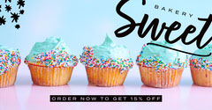 Colorful and Blue, Light Toned, Sweet Bakery Facebook Ad Cupcake