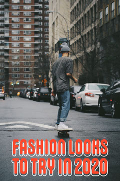 Fashion Trends Pinterest Graphic with Skateboarder in City Photo Fashion Show