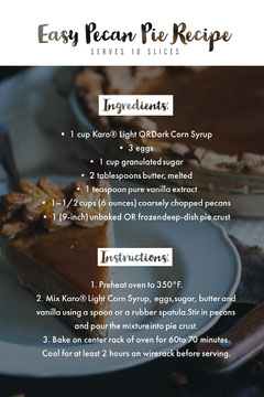 White Easy Pecan Pie Recipe Card Recipes