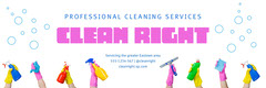 Colorful Clean Right Professional Cleaners Twitter Header Cleaning Service