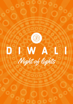 Orange and White, Diwali Wishes Card Festival
