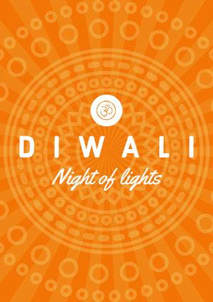 Orange and White, Diwali Wishes Card Diwali