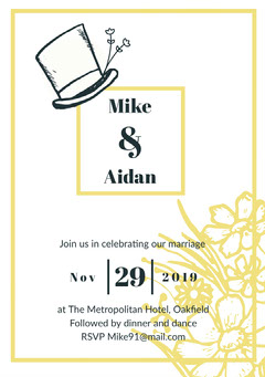Yellow Frame Top Hat Wedding Invitation Card Frame