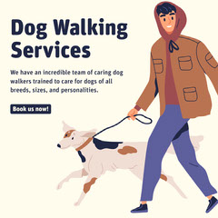 Fun Illustrated Dog Walking Service Advertisement Dog Walker Flyer