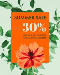 Orange and Green Summer Sale Instagram Portrait Graphic with Plants Instagram Flyer