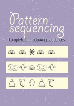 Purple Pattern Sequencing Winter Worksheet Kids