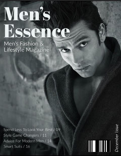 Black and White Handsome Man Magazine Cover Fashion Magazines Cover
