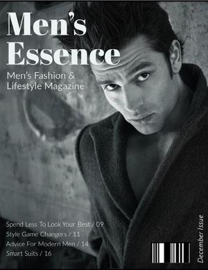 Black and White Handsome Man Magazine Cover Portada de revista