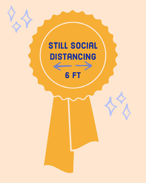 Gold Funny Social Distancing Award Ribbon Instagram Portrait Graphic Social Distance