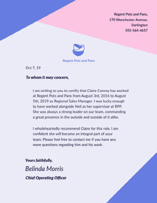 Blue and Pink Restaurant Worker Recommendation Letter Lettera