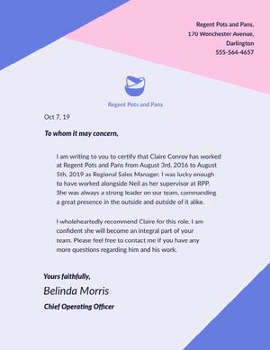Blue and Pink Restaurant Worker Recommendation Letter Declaração de experiência