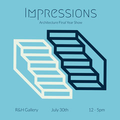Blue & Navy Staircase Icon Instagram Square Exhibition