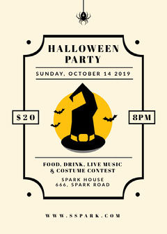 Witches Hat Halloween Party Flyer Live Music Flyer