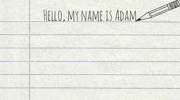 Simple Written Name Introduction on Notebook Paper