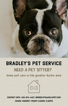 Pet Sitter Service Flyer with French Bulldog Service