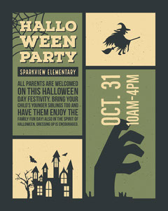Green, Black and Beige Halloween Party Invitation Instagram Portrait  Halloween Party Invitation