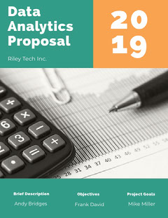 Turquoise and Orange Data Analytics Business Proposal with Photo of Chart Teal