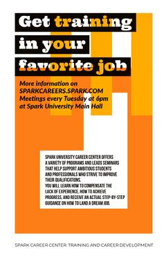 Orange Job Training University Career Center Flyer Career Poster