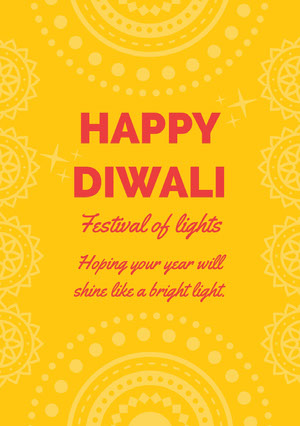 Yellow and Red, Light, Bright Toned, Diwali Card  Diwali