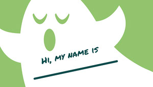 White and Green Ghost Trick Or Treat Halloween Party Name Tag Nimikortti