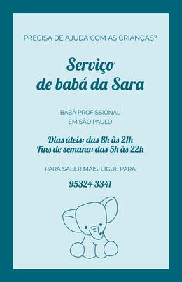 Serviço <BR>de babá da Sara Panfletos
