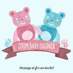 Pink and blue teddy bear Baby Shower Instagram Square Baby Shower
