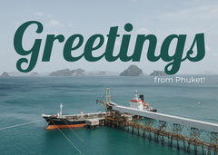 Blue Phuket Thailand Postcard with Ship Vacation