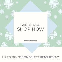 Light Green Winter Fashion Store Sale Instagram Post With Snowflakes petite entreprise