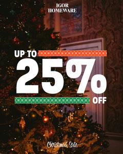 Up to 25% Igor homeware sale Instagram portrait Promotion