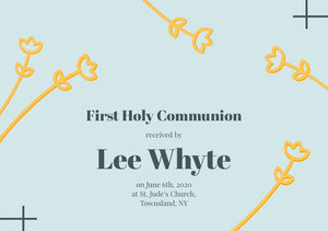 Blue and Yellow First Holly Communion Announcement Card Communion Annoucements