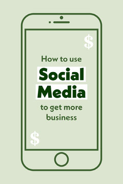 Green Smart Phone Illustration Social Media Business Tips Pinterest Graphic Social Media Flyer