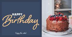 Navy Blue & Festive Cake Facebook Post Birthday