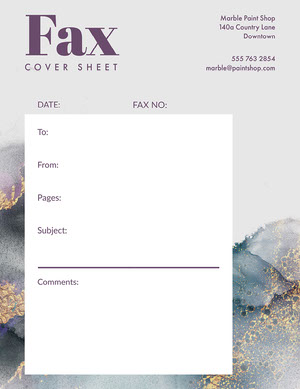 Purple White Marble Fax Cover Sheet Letter Fax Cover Sheet