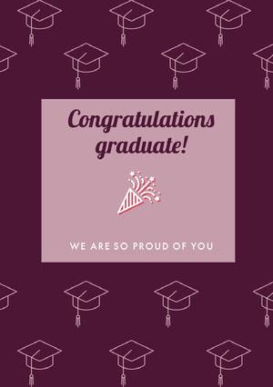 Violet and White Congratulation Card Invitation à remise de diplôme