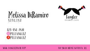 White Striped Hair Salon Business Card Cartão de Visita para Salão de Beleza