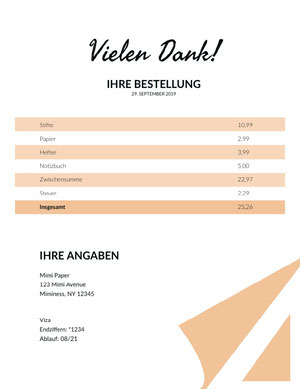 stationary invoice  Rechnung